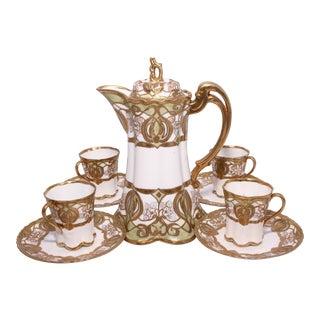 Vintage Hand-Painted Porcelain Noritake Nippon Coffee or Tea Set - Service for 4