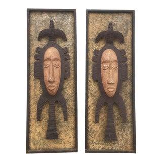 Metal Tribal Wall Sculptures - A Pair