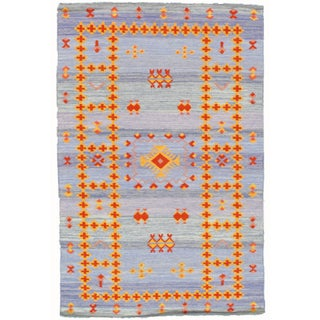 Moroccan Style Reversible Flat Weave Rug - 4' X 6'