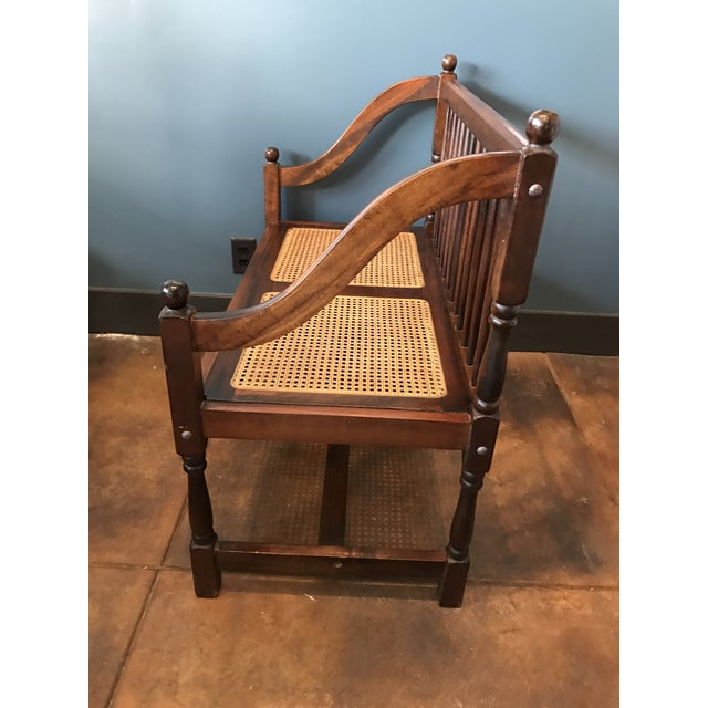 Traditional Wood & Cane Bench - Image 3 of 5