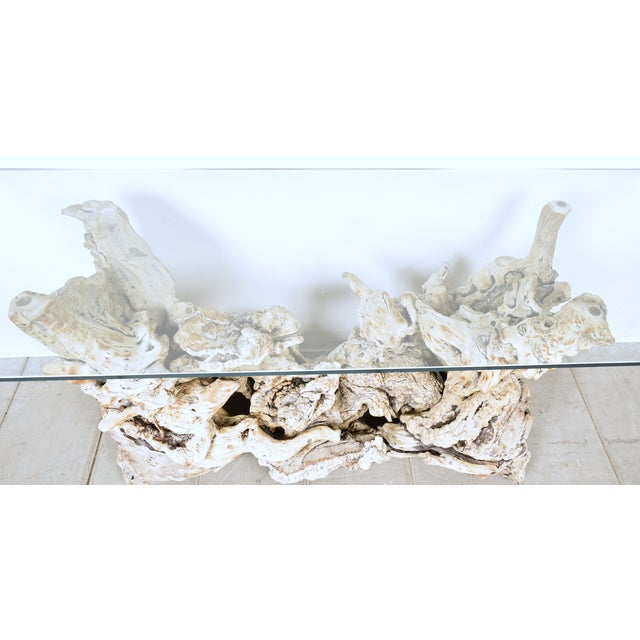 Vintage Tree Root Console Table W/Glass Top - Image 4 of 8