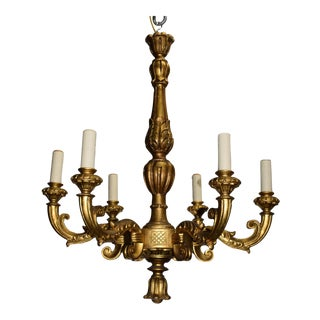 Antique chandelier, gilt wood
