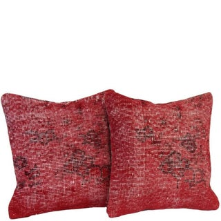 Red Handmade Over-Dyed Rug Pillows - Pair