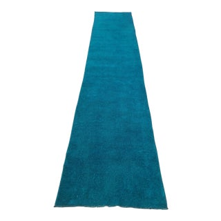 Turkish Oushak Overdyed Turquoise Runner - 2′8″ × 13′10″