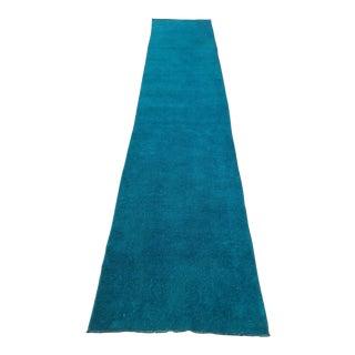 Turkish Oushak Overdyed Turquoise Runner - 2′8″ × 13′10″
