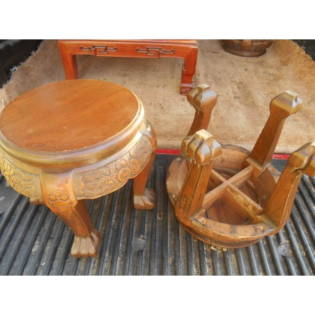 Vintage Japanese Hand Carved Tea Table Dining Set - Image 7 of 9