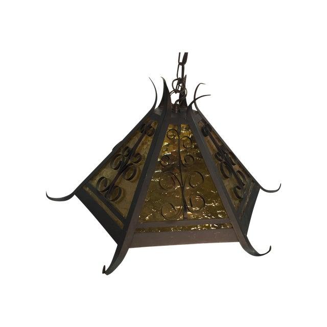 Gothic Spanish Revival Iron Slag Glass Light - Image 1 of 7
