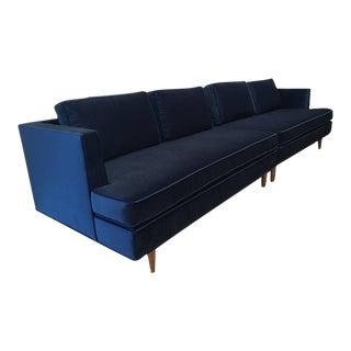 Edward Wormley Sectional Sofa for Dunbar in Blue Velvet
