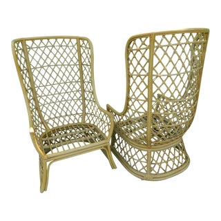 Vintage Rattan Boho Chic High Back Chairs - A Pair