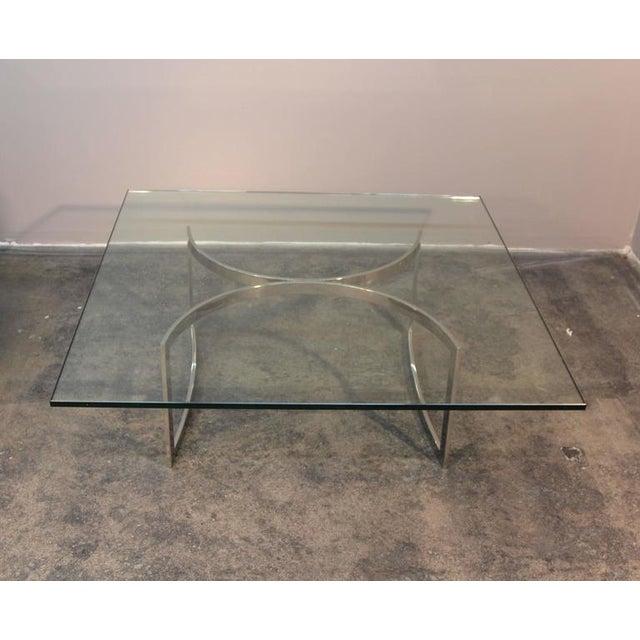 Mid Century Chrome Coffee Table: Mid-Century Chrome Base & Glass Top Coffee Table