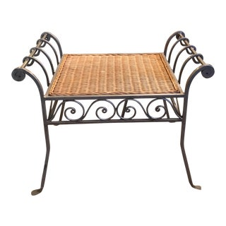Wicker Seat Iron Stools - a Pair