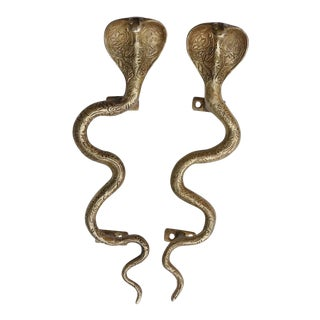 Large Gold Brass Cobra Door Handles - A Pair