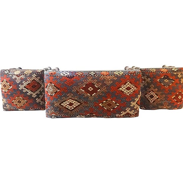Antique Caucasian Upholstered Stools - 3 - Image 4 of 8