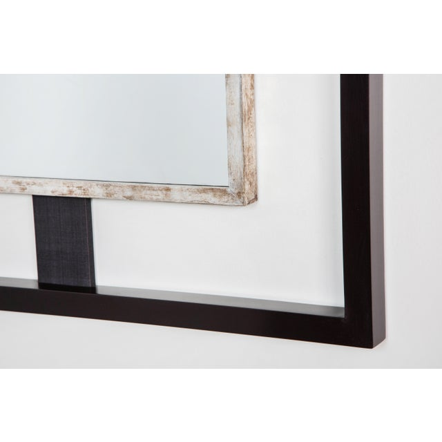 Paul Marra Negative Space Mirror with Distressed Silver Inner Frame - Image 4 of 5