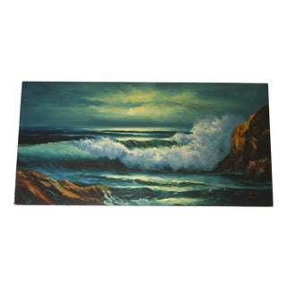 "Vintage ""Breaking Shore"" Oil Painting on Canvas"