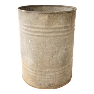 Vintage Industrial Galvanized Metal Barrel Can