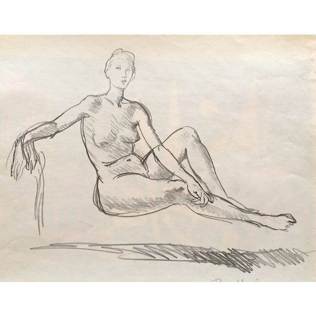 1951 Mid Century Rene Marcil Nude Female Drawing - Image 2 of 4