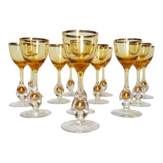 1960s Italian Handblown Amber & Gilt Gold Crystal Cordial Glasses -Set of 12