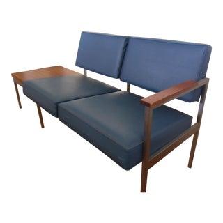 Steelcase Blue Vinyl Settee Sofa