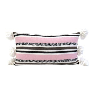 Pink & Black Moroccan Cotton Pom Pom Pillow