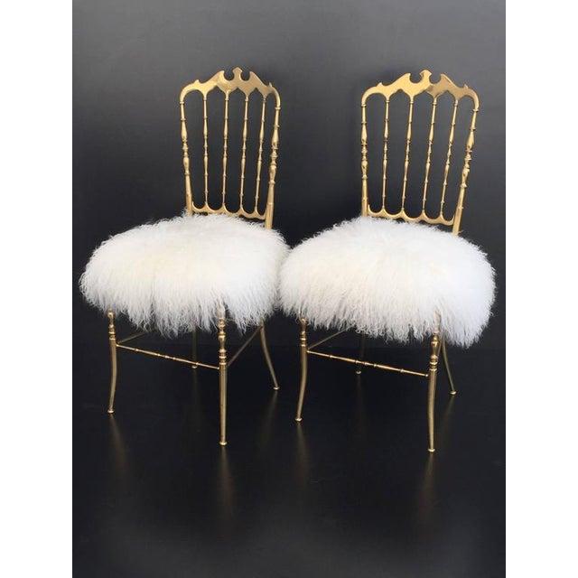 Italian Brass Chiavari Chair in Mongolian Fur - Image 3 of 10