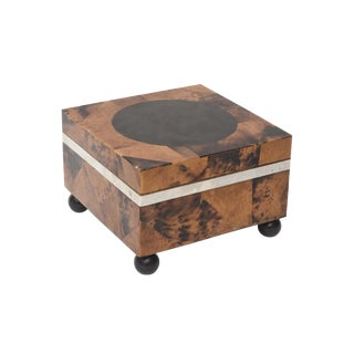 Maitland Smith Tessellated Tortoise Shell, Wood and Chrome Hinged Box