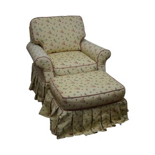Highland House Yellow Butterfly Upholstered Chair & Ottoman