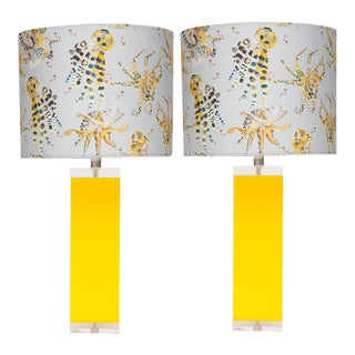 Yellow Lucite & Acrylic Table Lamps - A Pair