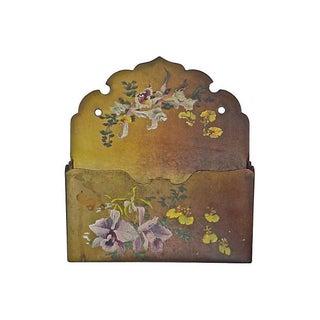 Antique French Papier-Mâché Floral Wall Pocket