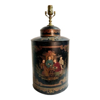Vintage Black Handpainted English Tea Caddy Lamp