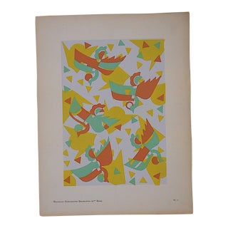 Vintage Serge Gladky Ltd. Ed. Pochoir Print-Abstracted Birds C.1928