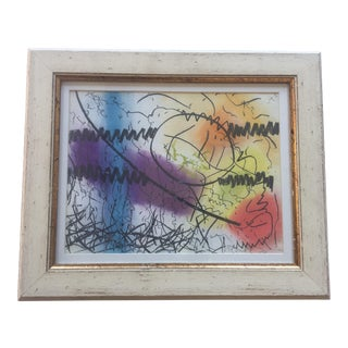 1970's Vintage Original Charcoal & Pastel Abstract Painting