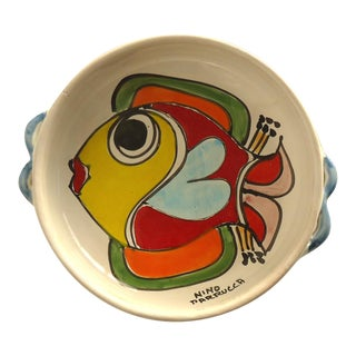 Italian Pottery Serving Bowl With Fish
