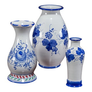 Set of Three Blue and White Hand Painted Italian Vases by Solimene, Vietri