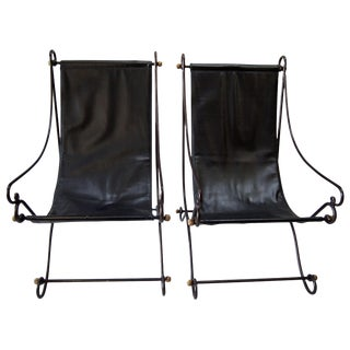 1970s Metal Sling Back Chairs - A Pair