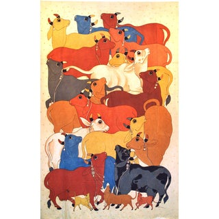 Contemporary Sacred Cow Painting in Vegetable Dyes Signed