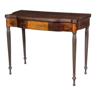 Mahogany & Bird's Eye Inlay Federal Sheraton Card Table with Lunette