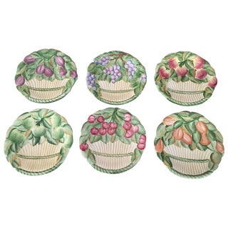 Majolica Italian Fruit in Basket Plates - Set of 6