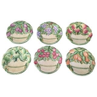 Majolica Italian Fruit in Basket Plates - Set of 6