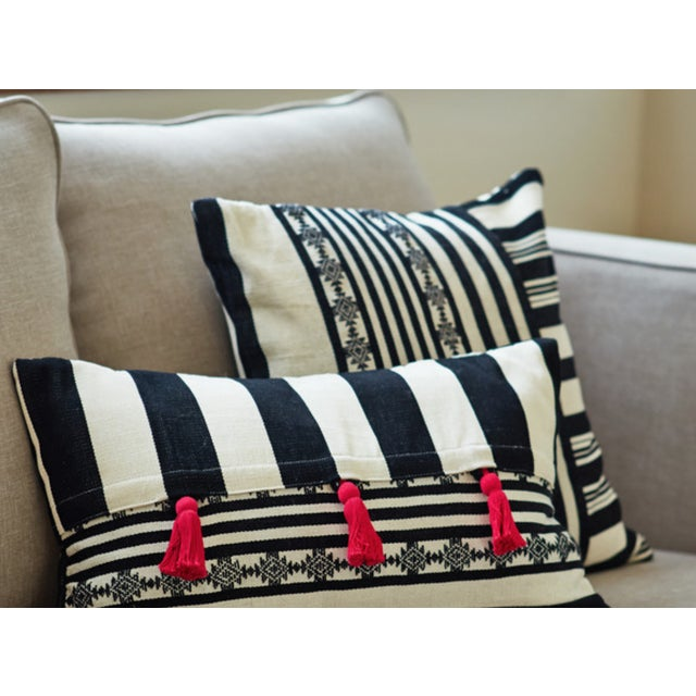 B&W Striped Pink Tassel Lumbar Pillow Cover - Image 3 of 4