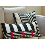 Image of B&W Striped Pink Tassel Lumbar Pillow Cover