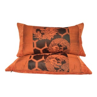 Japanese Tiger Crest Obi and Velvet Pillows - A Pair