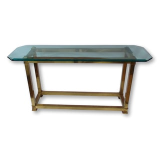 Vintage Brass Neoclassical Console Table With Beveled Glass Top