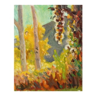 20th Century Autumn Forest Landscape in Oil Painting