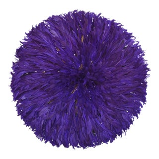 """Large 32"""" Lavender Purple African Feather Juju Wall Hanging"""