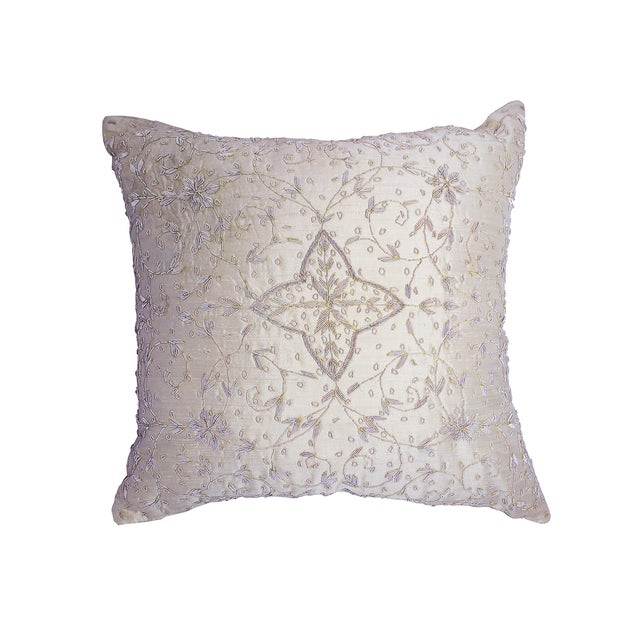 Image of Embroidered Ivory Beaded Silk Pillow