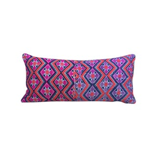 Vintage Chinese Pink & Blue Textile Pillow