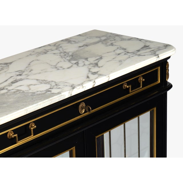 French Louis XVI Marble-Top Vitrine or Bookcase - Image 7 of 10
