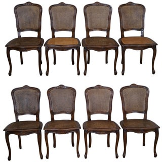 French Louis XV Cane Dining Chairs - Set of 8