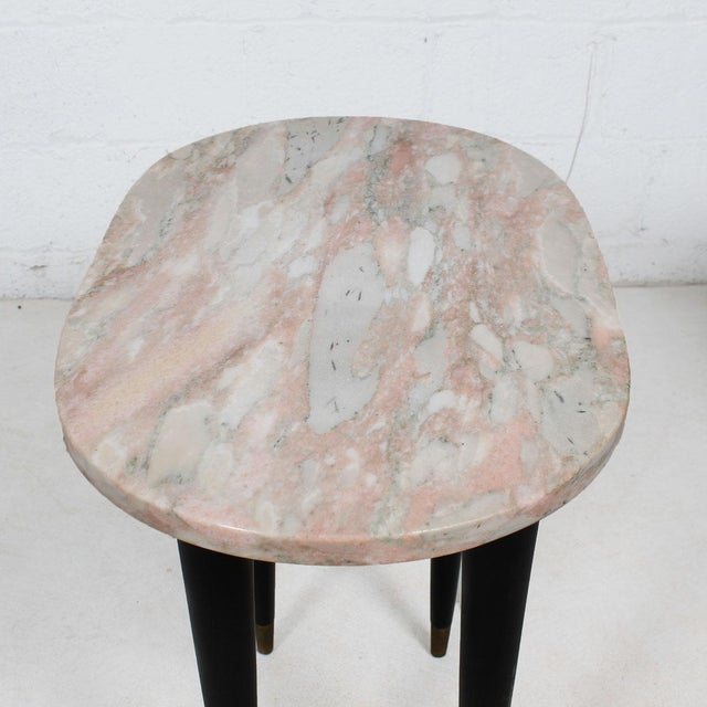 Pink Marble Top Accent Tables - Pair - Image 5 of 7